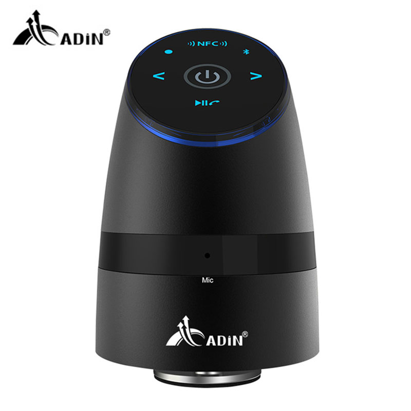 ADIN Metal Vibration Bluetooth Speaker Handsfree Call NFC Wireless Subwoofer 360 Stereo Bass HIFI Speaker For Smartphone MP3 PC solo one wireless bluetooth speaker vogue wooden nfc stereo super bass desktop speaker touch button for ios smartphone tablet pc