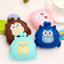 Cute Mini Owl Buckle Earphone Box Cartoon Silicone Hand-held Bag Headphones Box For Student Children Girl Gift Key Colorful Coin(China)