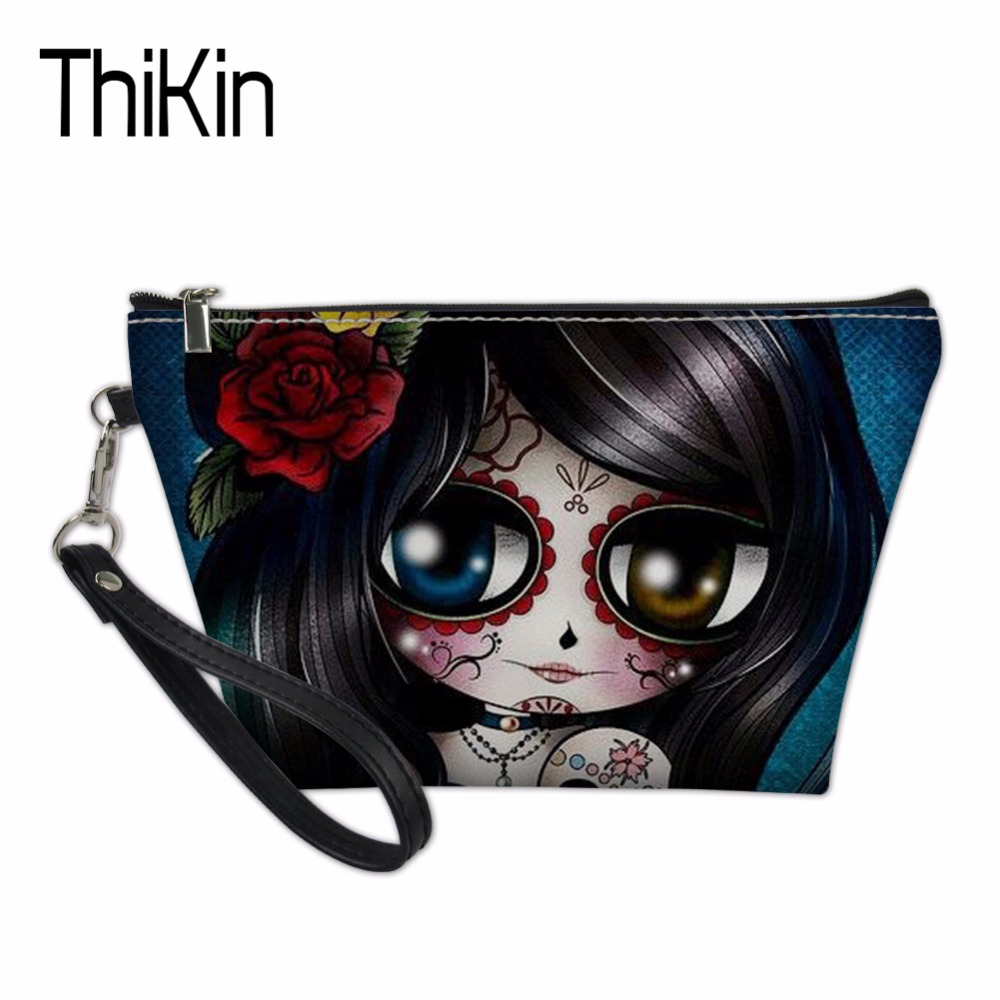 THIKIN Cute Skull Makeup Bag Travel Organizers Bags for Women Girls Make Up Case Ladies Cosmetics Toiletry Bag Functional 55 bag