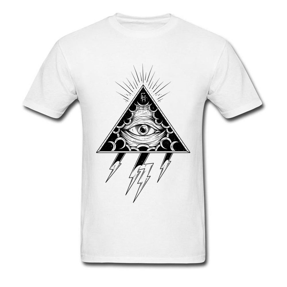 T-Shirt Men Clothing Dark-Cloud Autumn White All-Seeing Triangle Summer Cotton Tees Tops