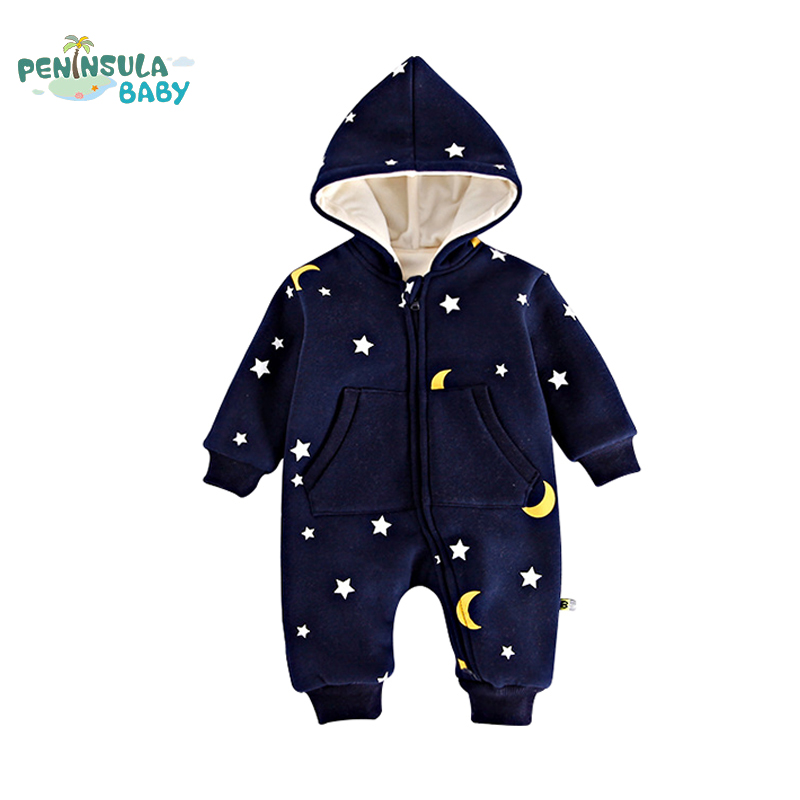 Winter Warm Baby Rompers Star Printing Jumpsuits Long Sleeves Thicked Newborn Girls Boys Clothes Infant Toddler Costume [playful100]romper newborn baby clothes baby winter rompers infant newborn baby girls boys clothes long sleeves hooded md160d026