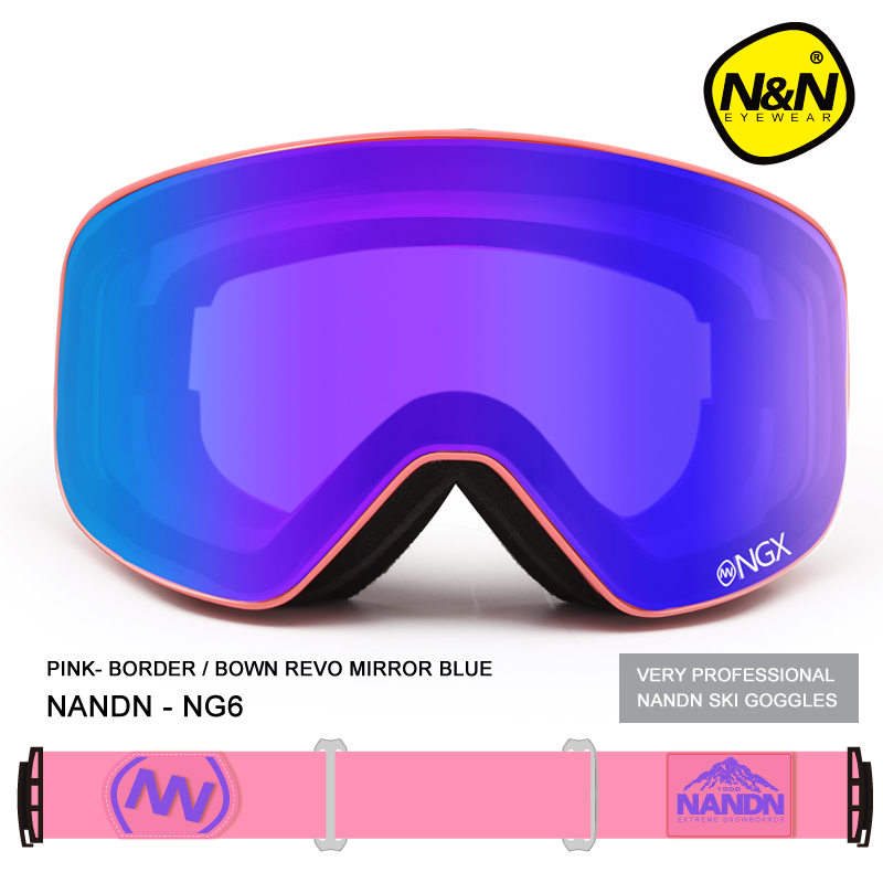 New NANDN brand ski goggles Ski Goggles Double Lens UV400 Anti-fog Adult Snowboard Skiing Glasses Women Men Snow Eyewear nandn ng3 double layer anti fog ski goggles lenses interchangeable motocros ski snowboard professional glasses multicolor