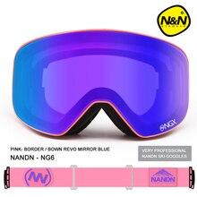 Новый NANDN бренд лыжные очки Лыжные Очки с Двойными Линзами UV400 Анти-туман Взрослых Сноуборд Лыжи Очки Женщины Мужчины Снег очки