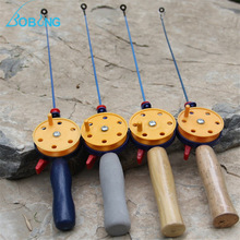 43.5CM Ultra-light Winter Fishing Rod Ice Fishing Rod With Fishing Reel Wood/Softwood Handle
