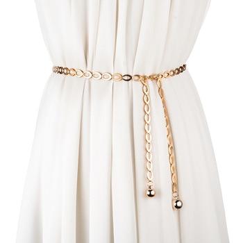 Женские ремни с высокой талией, золотистые, серебристые, модные, универсальные, для вечеринок, ювелирное платье, пояс с металлической цепочкой