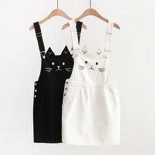 7e30ce19690 faldas mujer moda 2019 falda vaquera linda bordado falda de liga harajuku  dibujos animados gato mini