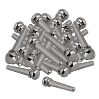 Yibuy Chrome Brass Slotted Bridge Pins End Pins Set for Acoustic Guitar Replacement Pack of 120