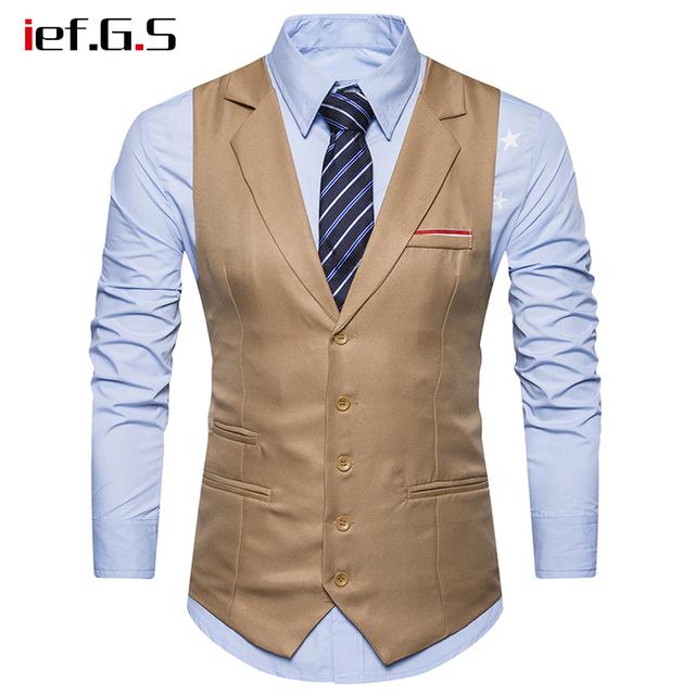 IEF.G.S giletmen waistcoat vest men chalecos para hombre Business casual Slim colete masculino militar suit vest gilet hombre