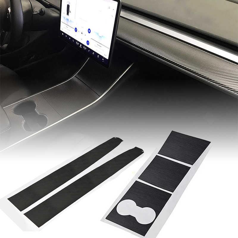 Autocollants en vinyle de tableau de bord de Console centrale de voiture de Fiber de carbone pour le modèle 3 de Tesla adaptés seulement au véhicule de conduite à gauche