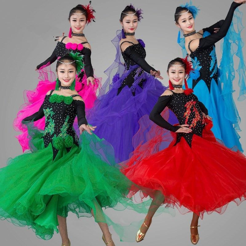 New Ballroom dance costumes sexy senior stones long sleeves ballroom dance dress for women ballroom dance dresses