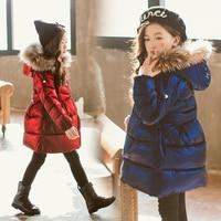Girls Down Jacket Long Children's Clothing 4 13y Girls Winter Jacket Thickening Parent child Coats Big Fur Collar Outwear Jacket