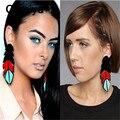 Comiya blue black red feather forma acrílico pingentes dangle brinco brincos longos brincos gota para as mulheres europeia moda femme