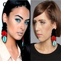 Comiya blue red black acrylic feather shape pendants long drop earrings for women european fashion dangle earring brincos femme
