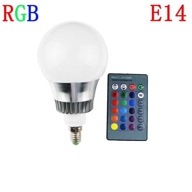 E14 10W RGB LED Lamp 16 Color Changing Dimmable Lampada led Spotlight with Remote Control For Party / Bar / Wedding forChristmas