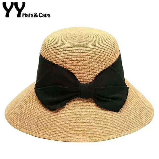 Large Black Bow Straw Cap Women Summer Hats Elegant Sun Visor Beach Caps  Holiday Leisure Sunhats Sombrero Mujer Verano YY18082 060f5f54fd5