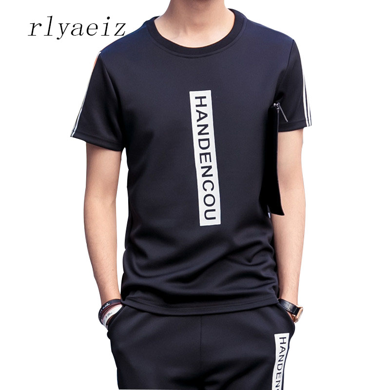 Rlyaeiz Sporting Suit 2018 Summer New Casual Tracksuit Mens Sets Letter Printed Tshirts + Calf-length Pants Male Sportswear Set