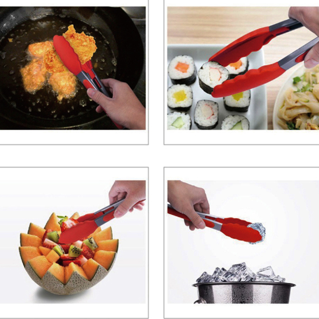 WALFOS Food Grade 100% Silicone food tong Kitchen Tongs Cooking Tongs accessories Salad Serving BBQ toots Stainless Steel Handle