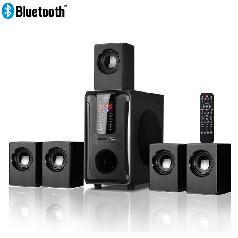 5 1 Channel Home Theater Speaker System Bluetooth USB SD FM Radio Remote Control Touch Panel