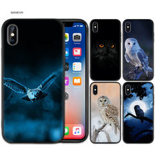 Zwart Rubber Zachte Siliconen Case Tas Cover voor iPhone XS XR X 7 8 6 6S 5C 5E 5S 5 Plus Max Shell Fundas Coque Kat Uil Dier(China)