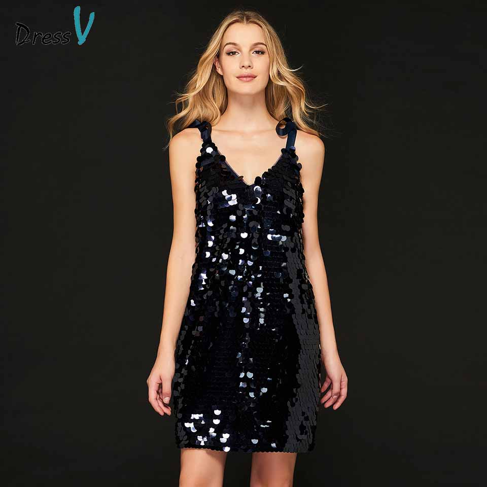 0e4a25b5ce Dressv v neck cocktail dress sleeveless sheath sequins elegant backless  short mini wedding party formal dress cocktail dresses
