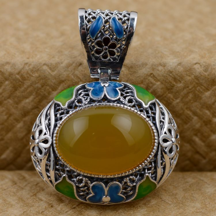 i S925 wholesale Sterling Silver Inlay Pendant Shaolan filigree crafti S925 wholesale Sterling Silver Inlay Pendant Shaolan filigree craft