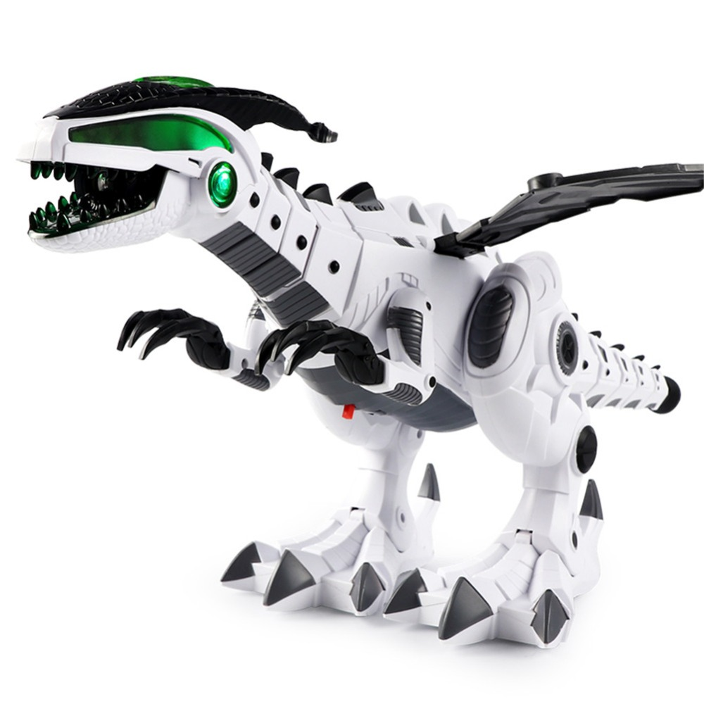Hot Sale White Grey Spray Electric Dinosaur Colorful Lighting  Mechanical Pterosaurs Model Toy Childrens' Day Gift For Kids Boy