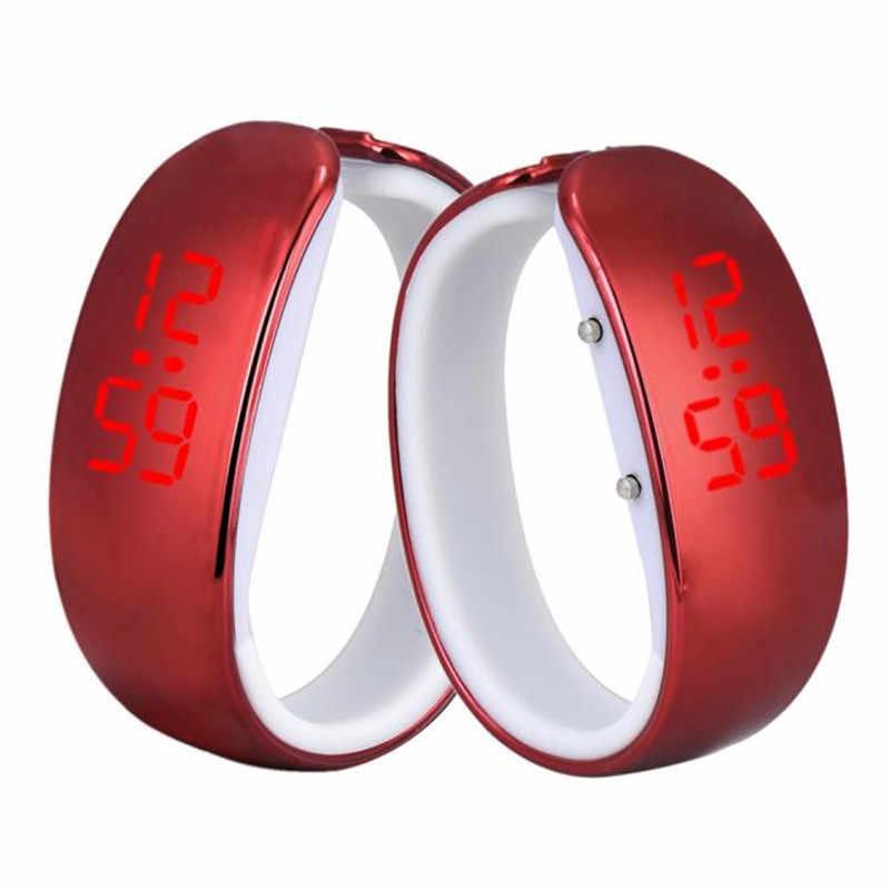 女性女性電子時計スポーツ Led メッキブレスレットデジタル腕時計ファッションホット販売レロジオ feminino 30X
