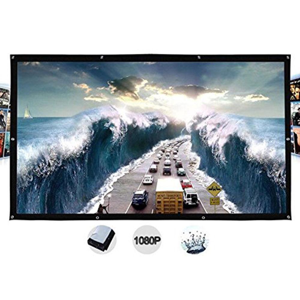Amzdeal Portable Foldable 4:3 HD Display 100Inchs Projector Screen Fiber Canvas Curtain Home Cinema Outdoor Courtyard