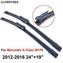 SLIVERYSEA For Mercedes A Class W176 2012-2016 24+19 Wiper Blade Accessories Auto Cars Rubber Windshield CPB105