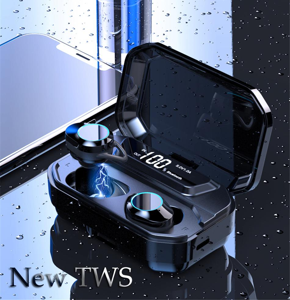 HobbyLane TWS Wireless Bluetooth Earset 5.0 Mini In-Ear Waterproof Touch Sports Earphones for iPhone / Android Charging Box r20