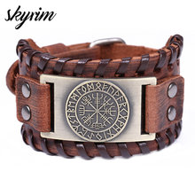 Skyrim Vintage Viking Compass Genuine Leather Bracelet for Man Bangle Nordic Runes Odin Symbol Wrap Jewelry Accessories(China)