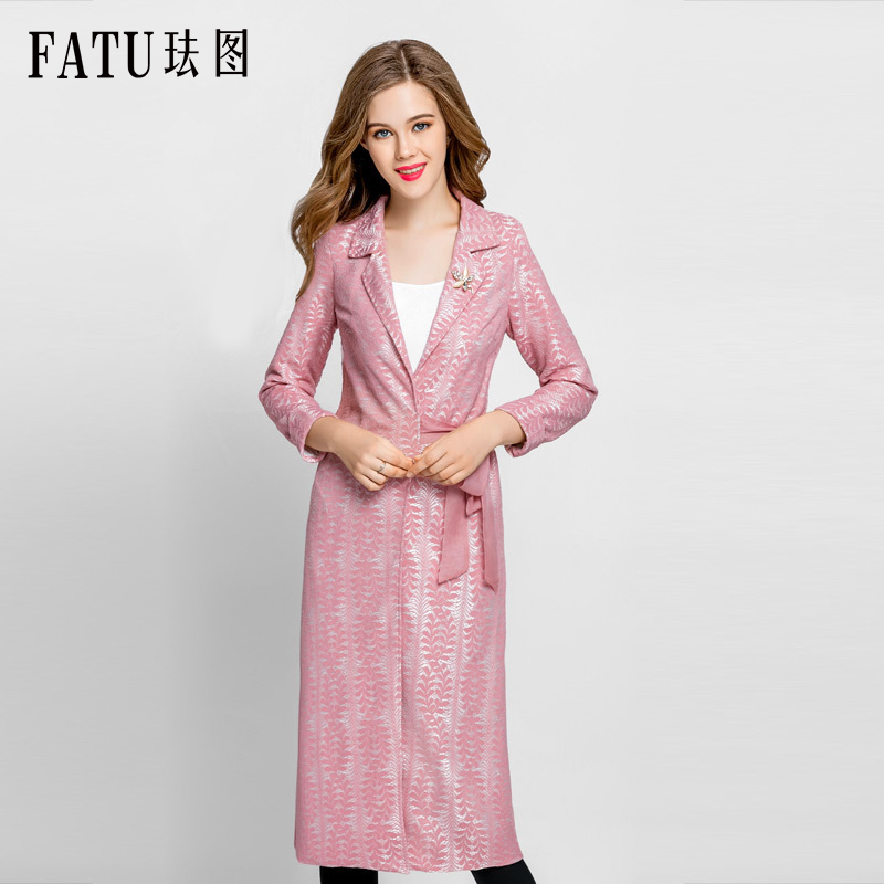 FATU 2018 Women Trench Coat Spring Autumn Long Windbreaker Floral adjustable With Belt Trench Coat for Women Casaco Feminino