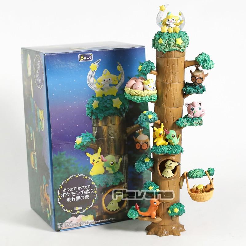 Monsters Forest Shooting Star Night Vol.2 Jirachi Togepi Caterpie Mimikyu Eevee Charmander PVC Figures Toys 8pcs/set