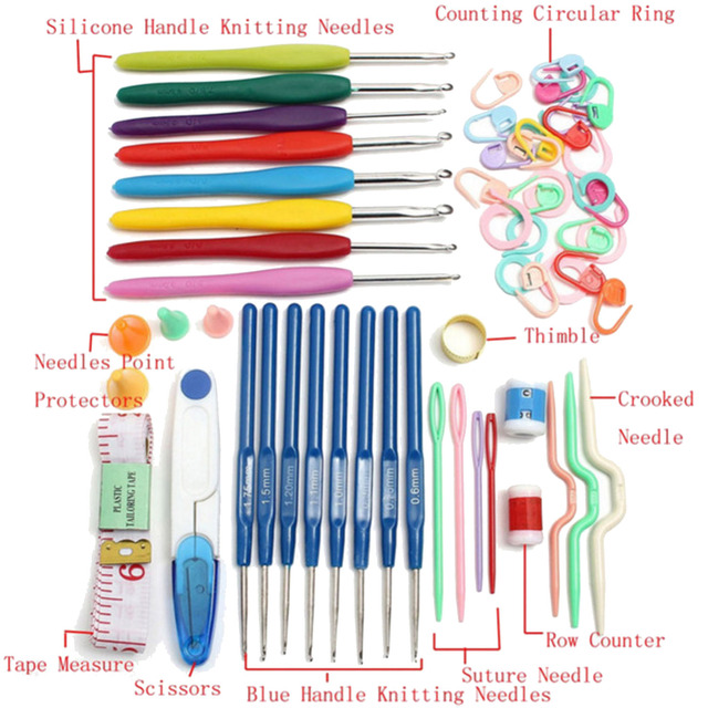 33 Pcs Crochet Hooks Knitting Needle Hook Needles Set Tools Crooked