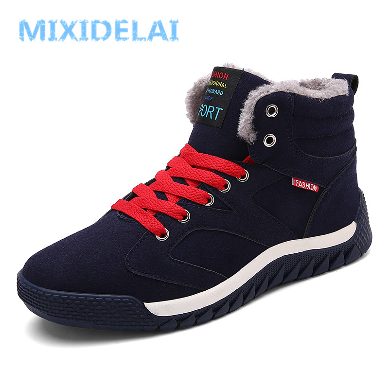 MIXIDELAI Men Boots Suede Winter Keep Warm Snow Boots Winter Boots Work Shoes Men Footwear Fashion Rubber Ankle Boots Big Size zenvbnv winter leather men boots work casual boots men keep warm shoes male rubber snow cow suede leather ankle boots for men