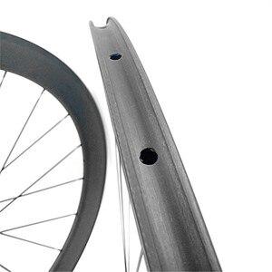 Image 4 - free shipping carbon wheels road clincher tubular 50mm bike wheels carbon wheelset 700c carbon road bike wheels 23mm 25mm width