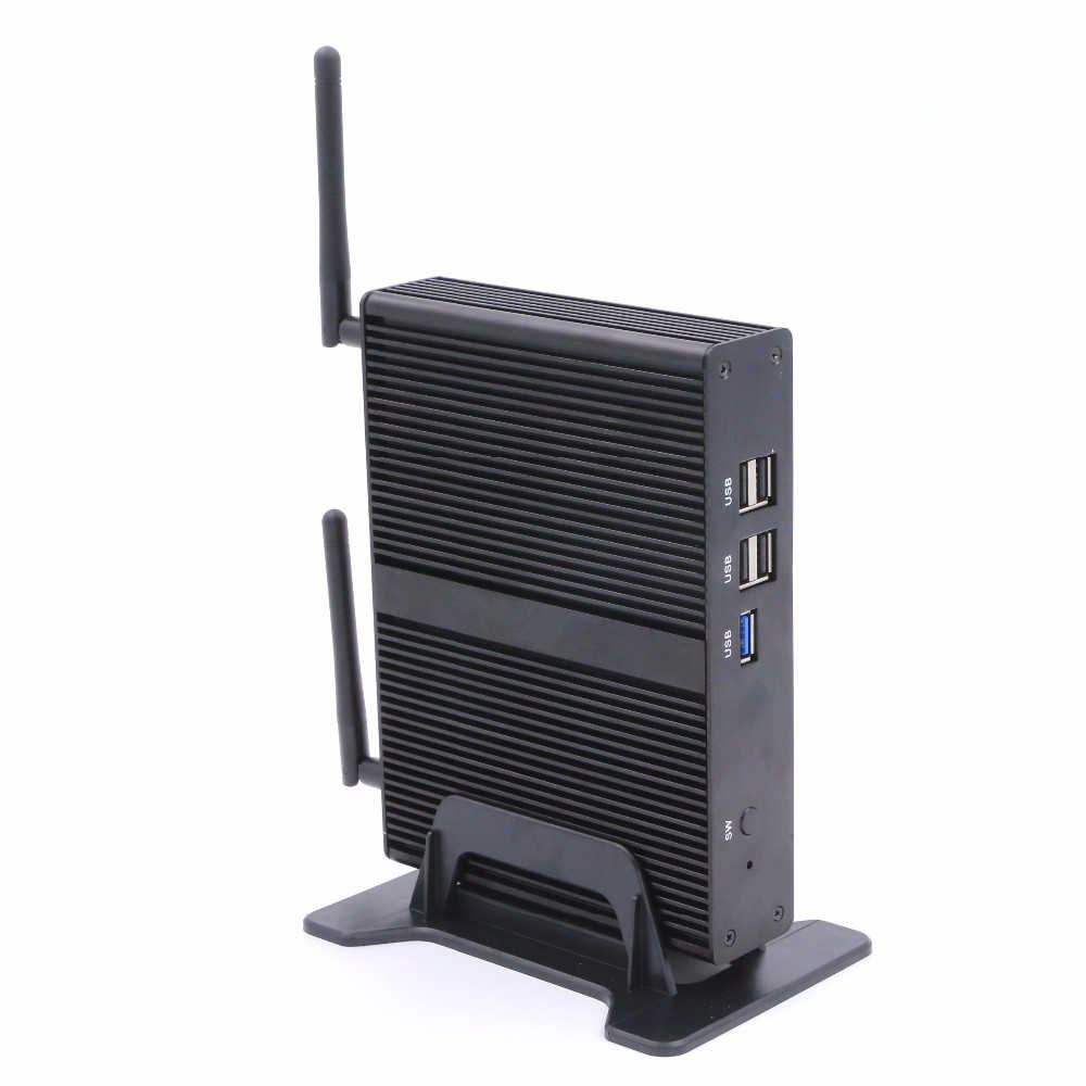 Eglobal wyposażony w czterordzeniowy bez wentylatora mini PC J1900 Max 2.42 GHz grafika Intel HD 1080 P HTPC TV Box komputer z systemem Windows Linux Micro PC