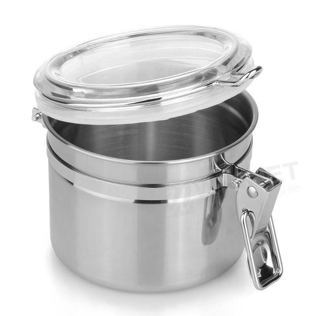 Home Kitchen Stainless Steel Air Sealed Canister Dry Food Container Silver Tea Coffee Sugar Powder Nuts