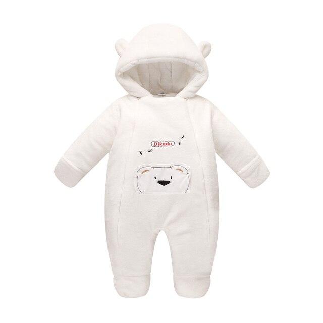 Новая мода 2017 Новорожденных зима верхняя одежда ребенка комбинезон коралловый флис хлопка мягкий младенец девочка одежда утолщение комбинезоны
