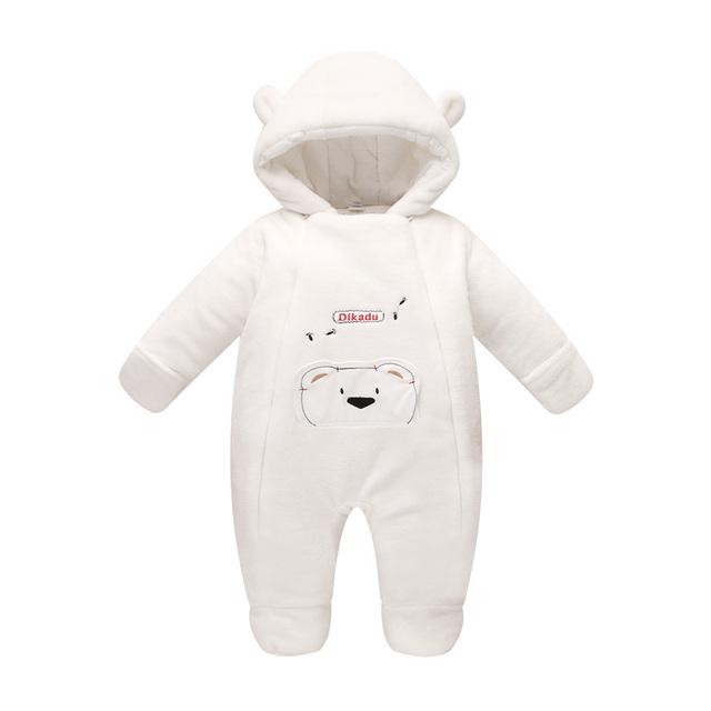 Nova moda 2017 Recém-nascidos macacão de bebê outerwear inverno coral fleece algodão acolchoado bebê infantil menina roupas espessamento macacões
