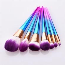 7pcs/set Makeup Brushes Set Rainbow Handle Diamond Foundation Powder Blush EyeShadow Lip Brush Beauty Makeup Tools T07061 TM003