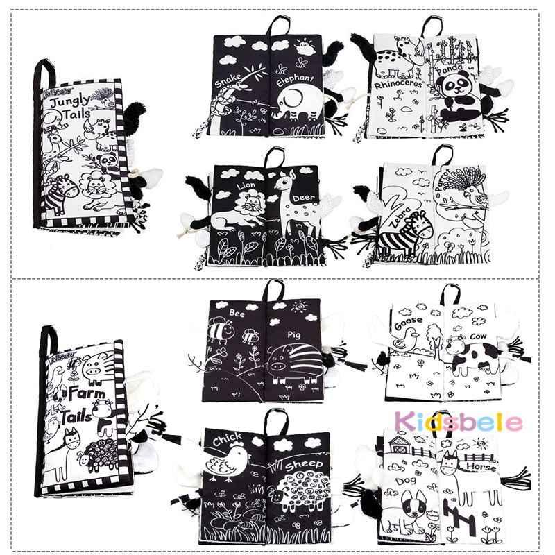 Мягкие хвосты, книга с изображением животных, детские игрушки, черно-белые Развивающие Игрушки для раннего обучения для детей