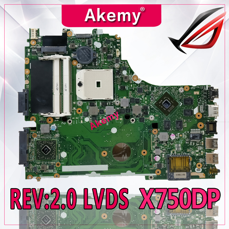 Akemy X550DP Motherboard REV 2 0 LVDS For ASUS X750DP K550DP K550D X550D Laptop motherboard X550DP