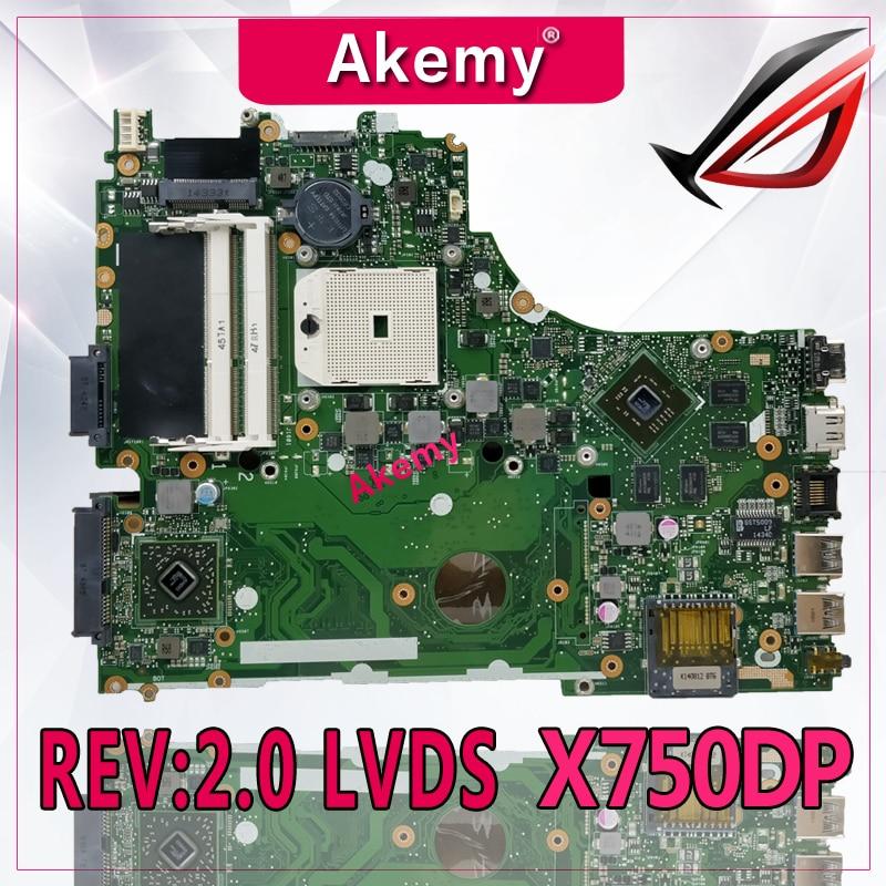 Akemy X550DP Motherboard REV 2 0 LVDS For ASUS X750DP K550DP K550D X550D Laptop motherboard X550DP