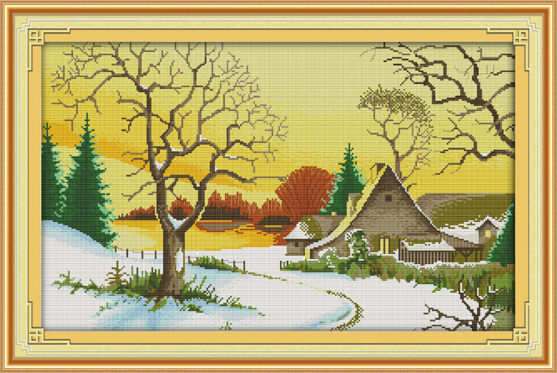 First snow cross stitch kit 18ct 14ct 11ct count printed canvas stitching embroidery DIY handmade needlework