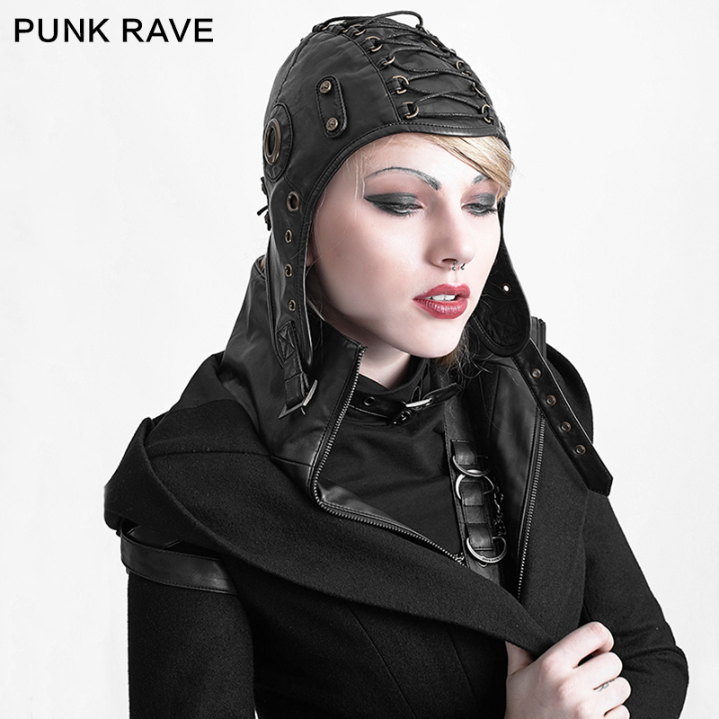 Punk Rave Fashion Leather Black Cosplay Caps Hats Steampunk Military Cool S163