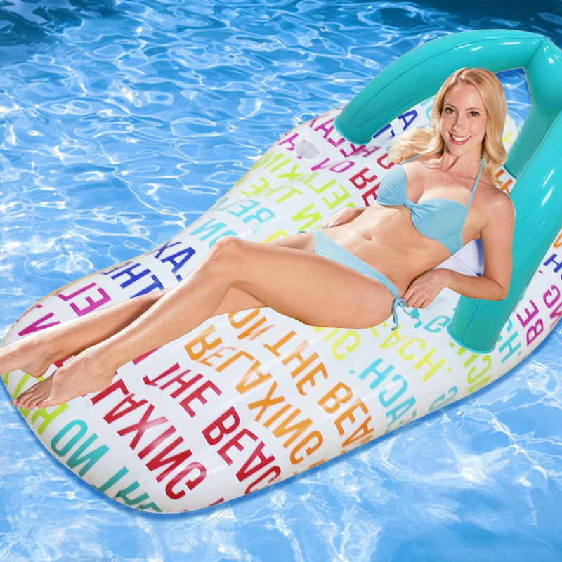 150*75cm Inflatable Rainbow Slipper Floating Row Sea Beach Swimming Ring Ride-on Water Toys Letter Printed Flip Flop Pool Float