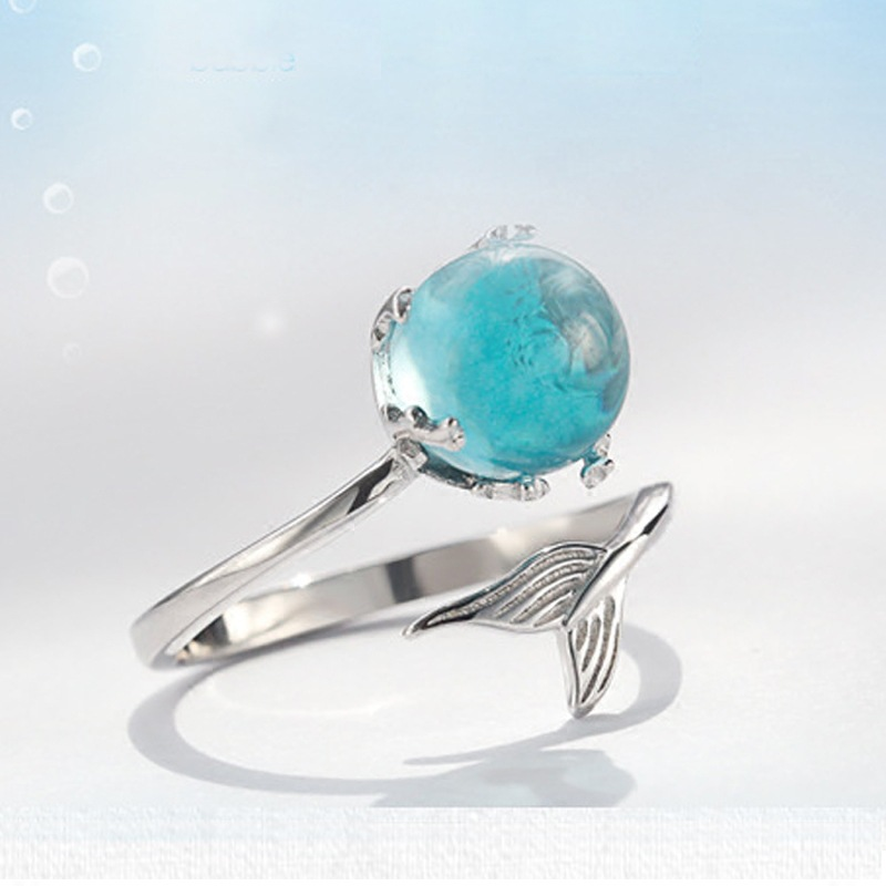 100% 925 Sterling Silver Open Blue Crystal Mermaid Bubble Rings Women Girls Gift Statement Jewelry Adjustable Size Finger Ring