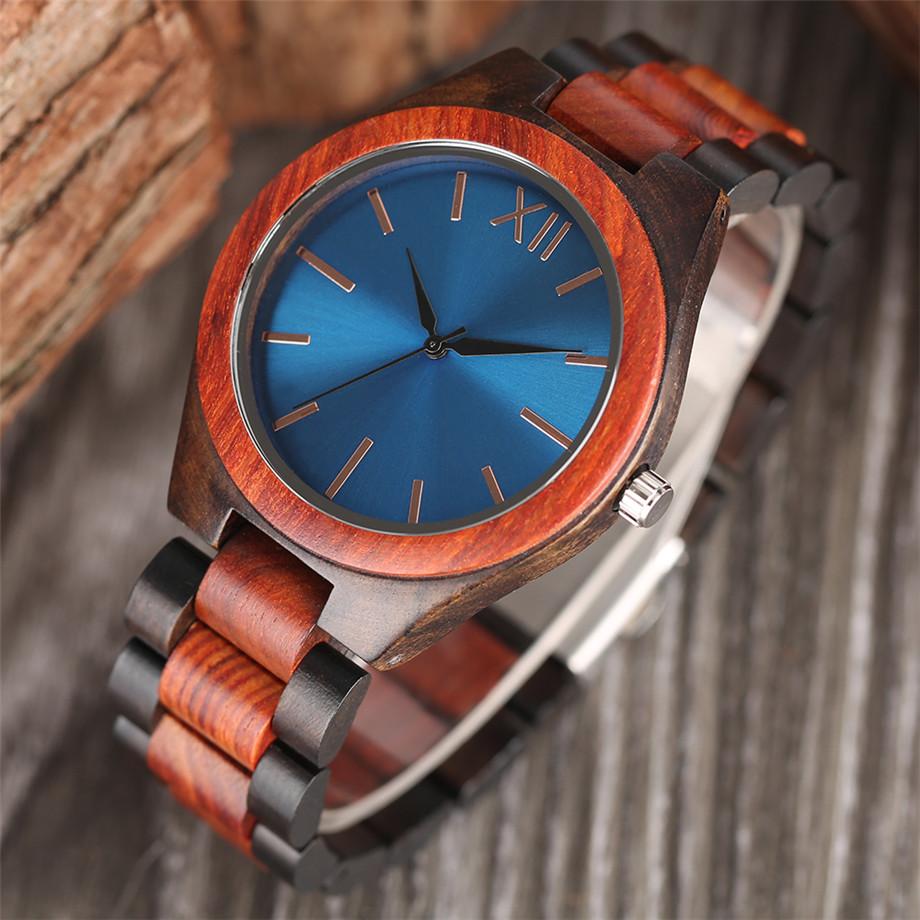 Dark Brown Sapphire Blue Nature wood watch men casual 20