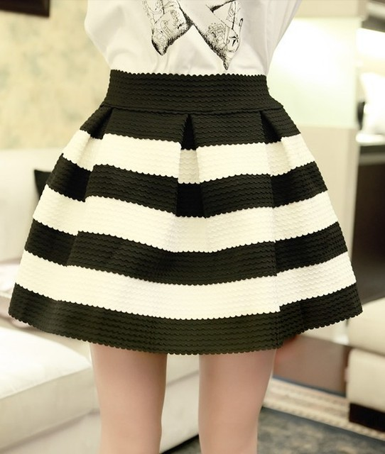 bceebf2b6 2013 autumn new classic high waist black and white striped Bubble Skirt
